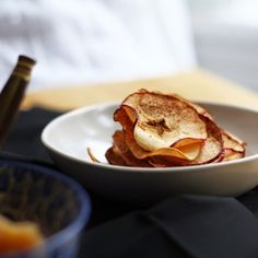 Apple Chips with cinnamon and sugar.