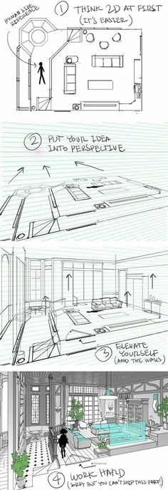 A helpful guide for building interiors digitally | By Thomas Romain [Architecture - Drawing - Perspective - Tutorial - Tips] Interior Design Sketches, Interior Design Courses, Sketch Design, Interior Design Drawing, Croquis, Design Reference, Drawing Reference, Art Tutorials, Design Tutorials
