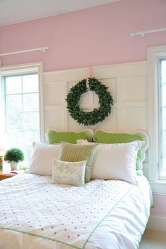 Fabulous combo of pink and green; the wreath is a fresh touch.