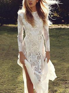 Long Sleeve Bridal Dresses, Backless Lace Wedding Dress, Formal Dresses With Sleeves, Unique Dresses, Maxi Dress With Sleeves, Bridal Gowns, Chiffon Dress, Long Dress With Slit, Floryday Vestidos