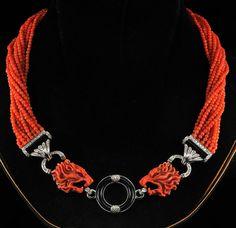 Magnificent Art Deco Sciacca coral, onyx, and diamond necklace, circa 1935