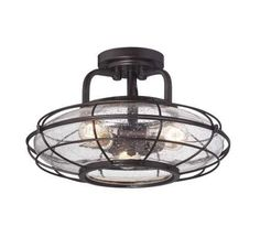 """View the Savoy House 6-574-3 Connell 3 Light 16"""" Wide Cage Semi Flush Ceiling Fixture at LightingDirect.com."""
