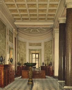 Interiors of the New Hermitage. The Room of Archaeological Artifacts by Konstantin Andreyevich Ukhtomsky - Architecture, Interiors Drawings from Hermitage Museum