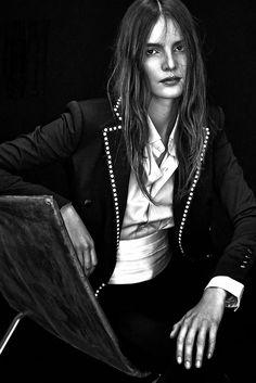 """TildaLindstam in """"Smoking/No smoking"""" by Andreas Sjödin for Elle France, December 2014."""