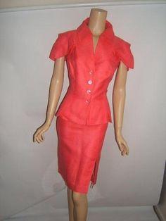 ESCADA 38 40 10 LUXURY Melon PINK Jacket Skirt Womens Designer Blazer Suit