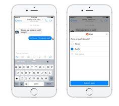 Facebook Messenger: Update mit Bezahl- & Umfrage-Feature - https://apfeleimer.de/2016/09/facebook-messenger-update-mit-bezahl-umfrage-feature - Mehr als 1 Milliarde Nutzer setzen auf den hauseigen Facebook Messenger des sozialen Netzwerkes. Grund genug für die App-Verantwortlichen dem Messenger ein kleines Update zu spendieren. Kunden aus den USA werden zukünftig in den Genuss einer Umfrage- und einer Bezahlfunktion kommen. Umfrage-Tool ...