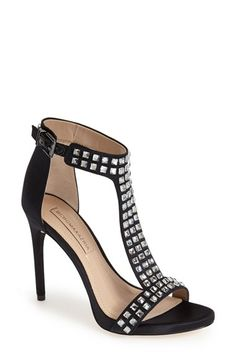 BCBGMAXAZRIA 'Ma-Diana' Crystal Studded T-Strap Satin Sandal (Women) available at #Nordstrom