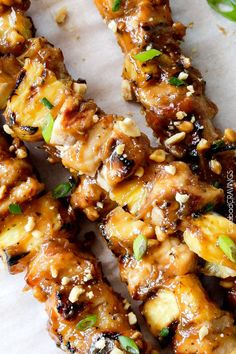 Thai Pineapple Peanut Chicken Satay - the best satay ever! smothered in incredible sauce of pineapple juice, brown sugar, peanut butter, etc.. and can be grilled or broiled.