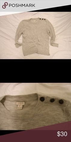 Grey jcrew sweater Light grey jcrew sweater with shoulder button detail jcrew Sweaters Crew & Scoop Necks