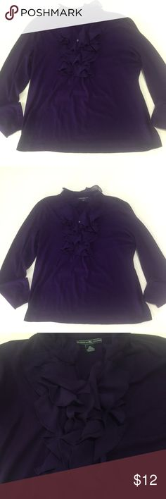 Ruffled American Living Purple Top This is a beautiful 100% Cotten knit top with pretty chiffon like ruffles by American Living (A Ralph Lauren Company).  Never worn but no tags.  Too small on me. Very unique and feminine.  It is an XL and is about 22 inches across from armpit to armpit. I would describe the color as an amethyst purple.  Thanks for visiting and let me know if you have questions. American Living Tops Tees - Long Sleeve