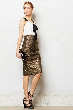 Palatial Skirt #anthropologie I need to just cave already and get myself a long brocade-y, glitzy pencil skirt like this one