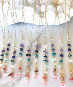 Bezel Set Diamond Necklace/ gold 3 bezel set diamond horizontal bar necklace with white diamonds/ Diamond Necklace Graduation Gift - Fine Jewelry Ideas Crystal Statement Necklace, Gemstone Necklace, Beaded Necklace, Beaded Bracelets, Raw Gemstone Jewelry, Diy Jewelry Necklace, Necklaces, Chakra Necklace, Chakra Jewelry