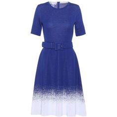 Oscar de la Renta Wool-Blend Dress ($2,120) ❤ liked on Polyvore featuring dresses, blue, blue color dress, oscar de la renta, blue dress and oscar de la renta dresses