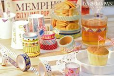 Daiso washi tapes Kawaii Stationery, Stationery Items, Washi Tapes, Masking Tape, Daiso Store, Cool Patterns, Mini Cupcakes, Hana, Display Ideas