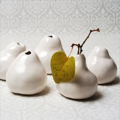 Inspirational pear vases. Perfect for displaying those endless twigs my girls always seem to find on walks to the park.