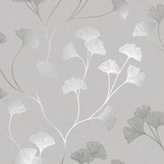 Glistening Ginkgo by Albany – Grey – Wallpaper : Wallpaper Direct – Home Office Wallpaper Silver Wallpaper, Paper Wallpaper, Bathroom Wallpaper, Wall Wallpaper, Wallpaper Ideas, Plant Design, Leaf Design, Designer Wallpaper, Textured Background