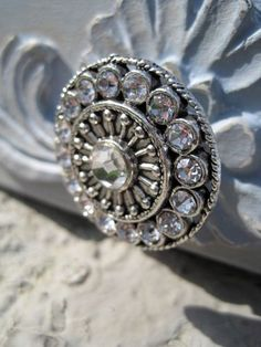 Crystal Drawer Knob in silver (MK113) | DaRosa Creations - Furniture on ArtFire / alternatively use up old jewellery items, beads etc glue onto plain wooden knobs