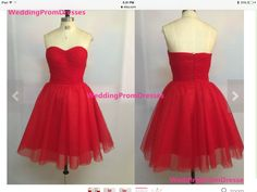 cute strapless red dress