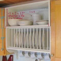 blue roof cabin: Update a Builder Grade Kitchen with a DIY Custom Cabinet Plate rack and shelf Dish Storage, Diy Kitchen Storage, Kitchen Redo, New Kitchen, Kitchen Remodel, Kitchen Design, Kitchen Cabinets, Kitchen Organizers, Kitchen Unit
