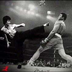 Bruce Lee and Muhammad Ali. Although Mohammad Ali was 'The greatest' I believe Bruce would have kicked (literally) his ass due to his explosive speed and the reach of his kicks. He could also punch with as much, if not more power than Ali. Would have been an amazing fight. Maff.