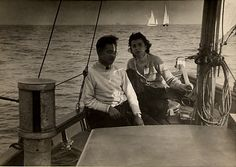 My parents at the helm of Thora, sailing in her first season, 1943.