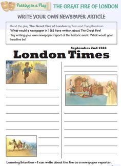 Worksheets and teaching activities that can be used alongside the play 'The Great Fire of London', published by Wayland.