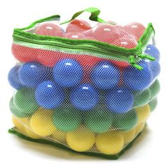 "100 ""Phthalates Free"" 6.8cm Play Ball w/Mesh Tote: Red, Yellow, Blue, and Green"