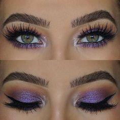 31 Pretty Eye Makeup Looks for Green Eyes: #16. PURPLE EYE MAKEUP LOOK