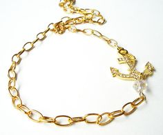 Gold Anchor Necklace  Crystal Charm Anchor Sideway on Gold