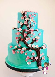 Blossoms Turquoise Wedding Cake (18)