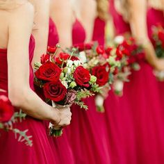 Bridesmaid's red flower.lovely color