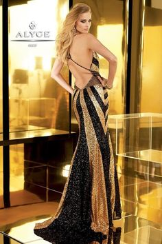 long black and gold dress