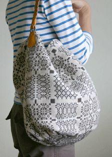 Japanese made designer bag by Tolbiac using wool fabric from Melin Tregwynt.