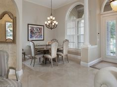 Transitional chandelier in the dining room | Gables Pelican Marsh, Naples, Florida