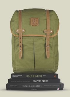 Fjällräven Rucksack No.21 - Classic backpack made from strong, waxed fabric and with details in natural tone leather. Main compartment has pockets for a computer, thermos and seat pad.