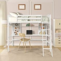 Unlock the possibilities with the Loft Bed with Desk and Shelves in twin size, which will have you saving space and maximizing functionality with a wide array of features. Designed with a wooded desk and two corner shelves, your child has a perfect study area while also allowing space to store their belongings. Available in versatile gray finish for the perfect fit with your dcor.The loft bed perfectly serves homes with limited space. It takes advantage of the floor space, and allows for a cozy