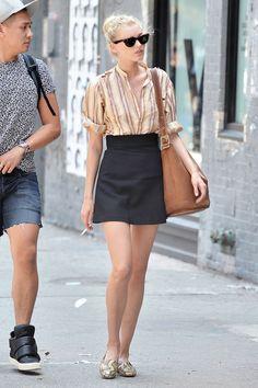 Model Off-Duty: Elsa Hosk's Vertical Stripe Shirt and Black Mini Skirt Look for Less