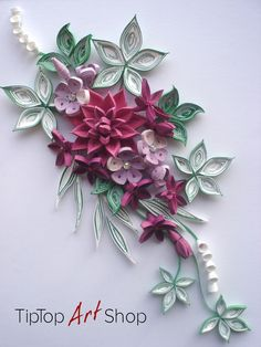 Handmade Quilled Flowers in Raspberry Pink and Purple by TipTopArtShop