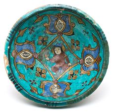 "12-13 c.  ""minai"" ware bowl. I like the combination of typical Seljuk turquoise gauze with cobalt blue"