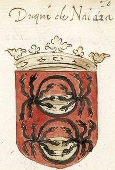 Famille Manrique de Lara, duc de Najera (Espagne) (f°70r) -- «Recueil de blasons peints», XVIe s., Paris [BNF Ms Fr 17256]. See also at: http://www.lukasweb.be/en/photo/armorial-plates-from-the-order-of-the-golden-fleece-79