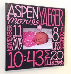 Baby Birth Information Canvas Frame 12x12. $58.00, via Etsy.