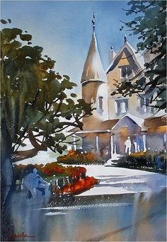 thomas w. schaller - watercolor artist   Very big thanks to the San Diego Watercolor Society and a really great group of painters for a very fun and productive week of plein-air painting! Half-sheet one hour demo from the last day - at Heritage Park.