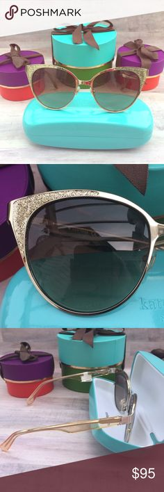 Kate Spade gold sparkle sunglasses Very vintage look! Think Goldie Hawn in the 60's! Tiffany blue case included with full price purchase (15$ value) kate spade Accessories Sunglasses