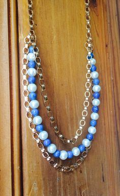 Layered Blue and White Team Statement Necklace by JewelrybyRJ, $34.99