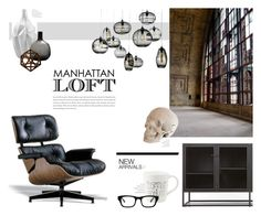 """Manhattan Loft"" by nmkratz ❤ liked on Polyvore featuring interior, interiors, interior design, home, home decor, interior decorating, Cardboard Safari, Crate and Barrel, Herman Miller and Cyan Design"