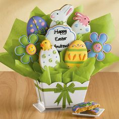Personalized Easter Cookie Bouquet #Easter #cookies