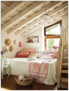 I love this for a small attic room, it can be made so cosy and cool with a little detail!