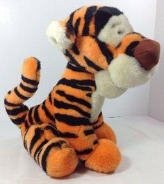 "Vtg Disneyland Tigger 14"" Disney World Plush Tiger Black Orange Stuffed Animal #Disney"