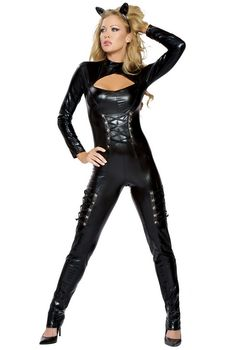 Feel like royalty in our deluxe Feline Queen Catsuit Costume! 2 piece fantasy cat costume includes long sleeve catsuit with sexy lace up details and cat ears. Kitten Costumes, Black Cat Costumes, Sexy Adult Costumes, Sexy Halloween Costumes, Costumes For Women, Link Halloween, Bunny Costume, Animal Costumes, Costume Halloween