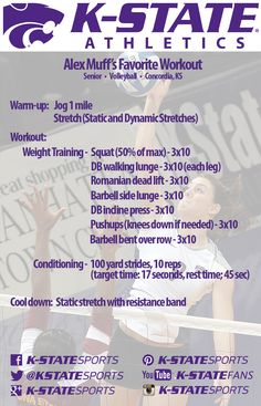 K-State Volleyball player, Alex Muff, shares one of her favorite workouts!